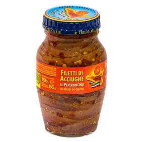 Fillets of anchovies with chilli pepper in olive oil - Jar 156gr Pesce Azzurro