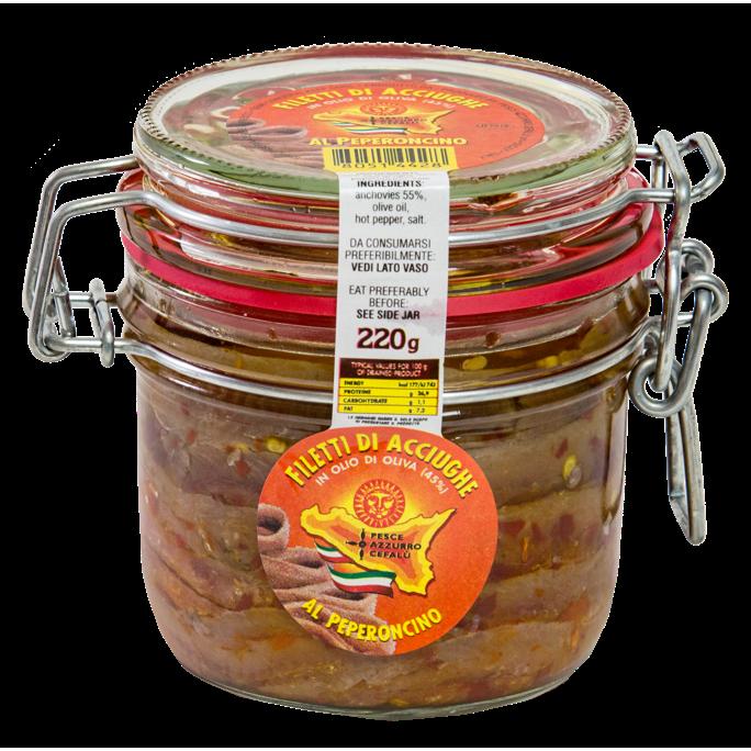 Filets d'anchois au piment rouge et à l'huile d'olive - Pot de 220gr Pesce Azzurro