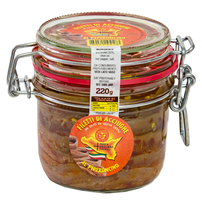 Sardellenfilets mit Chili-Pfeffer in Olivenöl - 220 g-Glas Pesce Azzurro