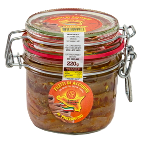 Fillets of anchovies with chilli pepper in olive oil - 220gr jar Pesce Azzurro