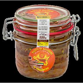 Filetes de anchoas con guindilla en aceite de oliva - tarro 220gr Pesce Azzurro