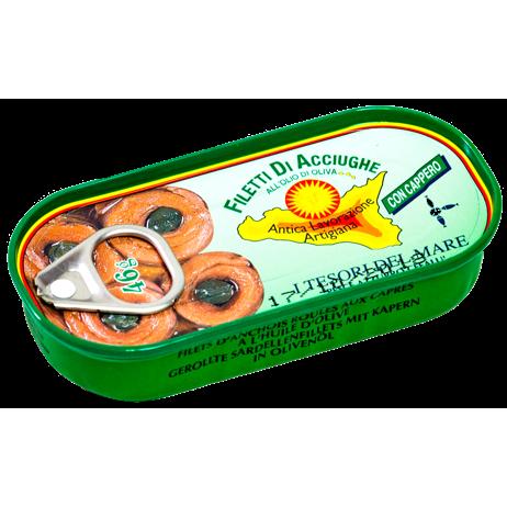 Filetes de anchoas enrolladas con alcaparras - lata Pesce Azzurro