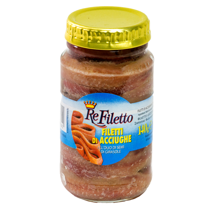 Anchovy fillets in seed oil - 140gr jar ReFiletto