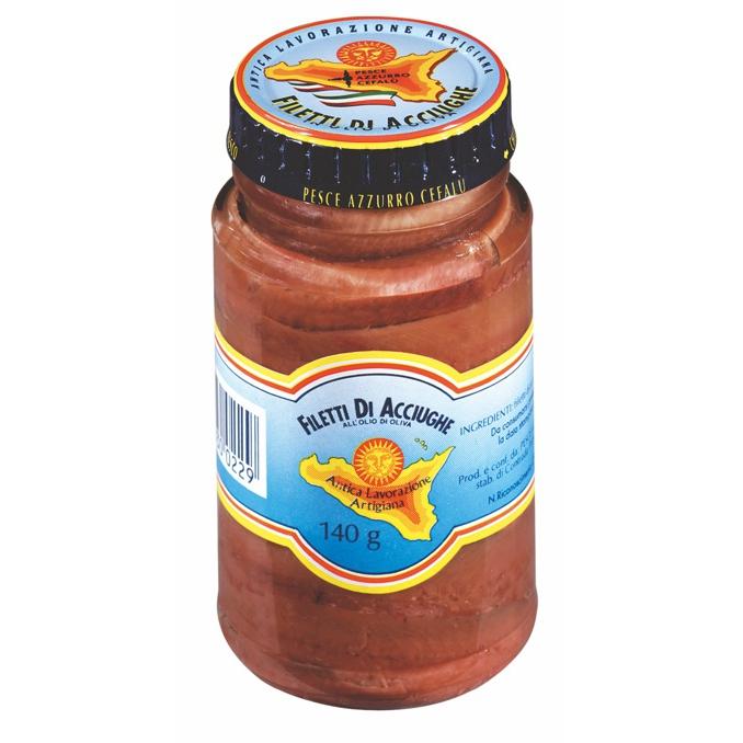 Filets d'anchois à l'huile d'olive - pot de 140gr Pesce Azzurro