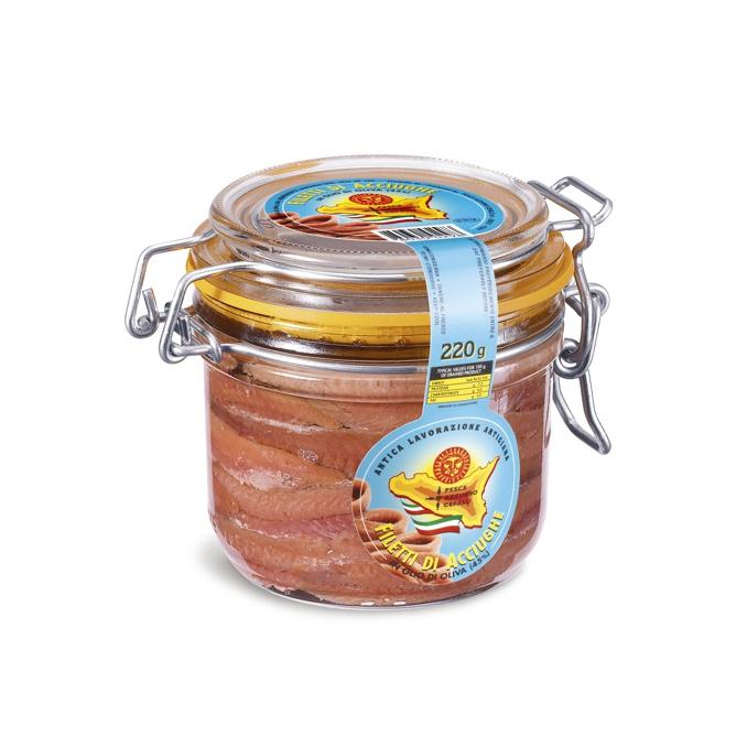Sardellenfilets in Olivenöl - 220g Glas Pesce Azzurro