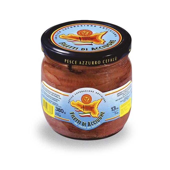 Filets d'anchois à l'huile d'olive - bocal de 380gr Pesce Azzurro