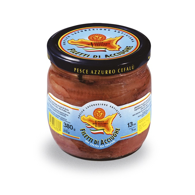 Sardellenfilets in Olivenöl - 380g Glas Pesce Azzurro